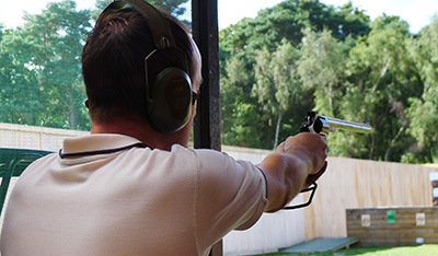 Pistol shooting on Melville range at Bisley
